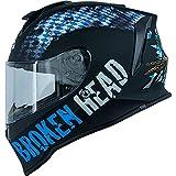 Broken Head Bavarian Patriot Integral-Helm - Sportlicher Motorradhelm - Helm mit Bayern Lifestyle Design, Blau/Schwarz (M (57-58 cm))