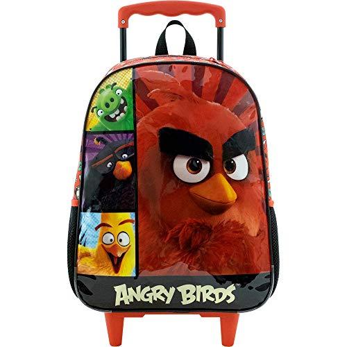 Mala Escolar com Rodinhas 16, Angry Birds, 8970, Vermelho