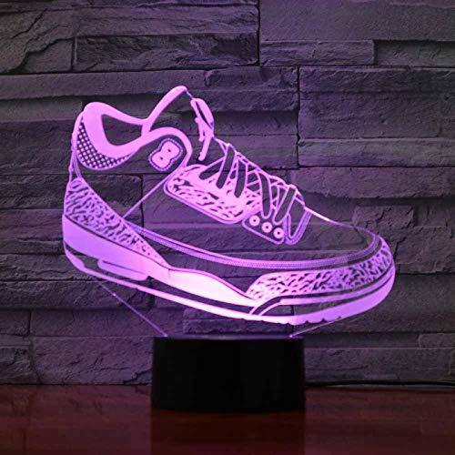 Lámpara De Luz Nocturna Decorativa Con Ilusión En 3D De 16Colores Luz Para Regalo Creativo, Zapatos Deportivos Lamp,Decoración Del Dormitorio,Regalos Navidad Cumpleaños Para Niños
