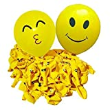 Limeo Smiley Ballon 100 Stücke Emoji Smiley Party Luftballons Verschiedene Lustige Emoji Design Kinder Latex Luftballons Geburtstagsfeierversorgungen Neuheit Hochzeit (Farbe)