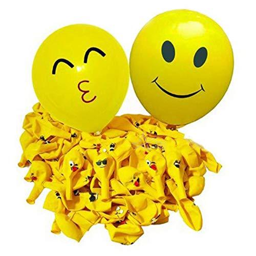 Limeo Smiley Ballon 100 Stücke Emoji Smiley Party Luftballons Verschiedene Lustige Emoji Design Kinder Latex Luftballons Geburtstagsfeierversorgungen Neuheit Hochzeit (Gelb)