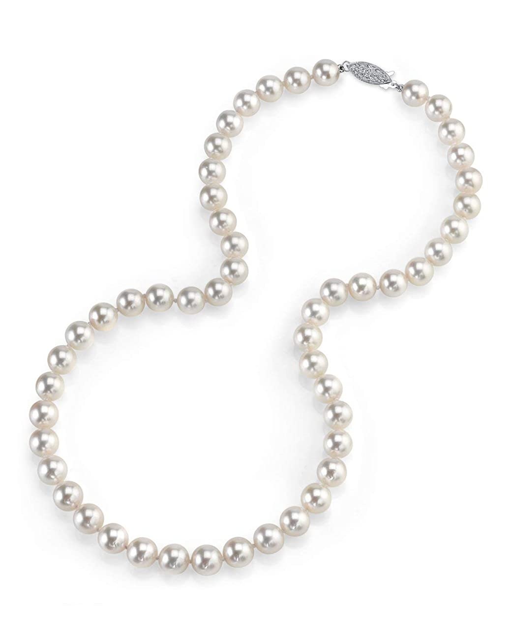THE PEARL SOURCE 14K Gold Round Genuine White Japanese Akoya Saltwater Cultured Pearl Necklace in 18