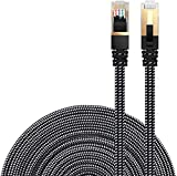 Cat 7 Ethernet Cable, DanYee Nylon Braided 26ft CAT7 High Speed Professional Gold Plated Plug STP Wires CAT 7 RJ45 Ethernet Cable 3ft 10ft 16ft 26ft 33ft 50ft 66ft 100ft(Black 26ft)