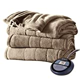 Sunbeam Channeled Velvet Plush Electric Heated Blanket Twin Acorn Washable Auto Shut Off 10 Heat Settings