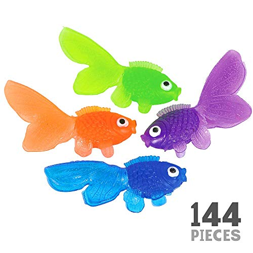 Kicko Plastic Vinyl Goldfish - Pack of 144 Assorted Neon Color Educational Toy - Enhance Hand and Bath Soaps, Fish Bowls and Tank, Aquarium Decorations, Party Accessory, Home Ornament and Crafts