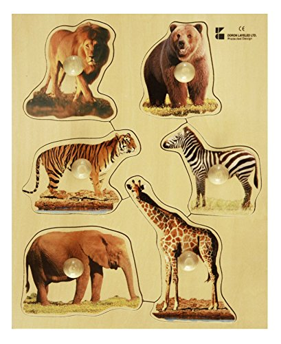 Doron Layeled Large peg Puzzle in Legno – Animali Selvatici