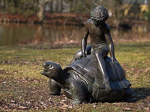H. Packmor GmbH Bronzeskulptur Junge auf Schildkröte Wasserspeier - Dekoration für den Garten - 75x80x75 cm