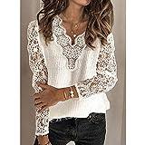 PKYGXZ Camiseta de Punto Blanca para Mujer, Costura de patrón Hueco, Jersey de Manga de Linterna, Blusa con Costura de Encaje, Top de Punto de Moda