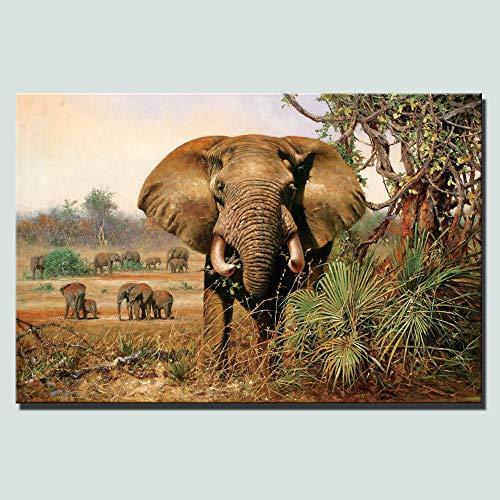 SADHAF Afrikaanse Olifant en Cheetah Woonkamer Muurdecoratie Poster Klassieke Animal Canvas Picture 70X100cm (no frame) A6