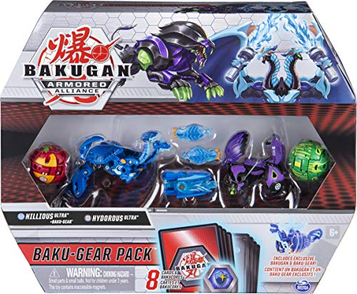 Bakugan Baku-Gear 4-Pack, Nillious Ultra with Baku-Gear and Hydorous Ultra, Collectible Action Figures
