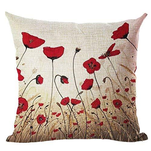 Federa cuscino con papaveri rossi, in cotone e lino, per divano, decorativo, quadrato, 45,7 x 45,7cm, Cotone, 4, large
