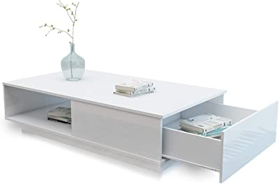 Coffee Table Storage with 1 Drawer Shelf Cabinet High Gloss Wood Modern Furniture White