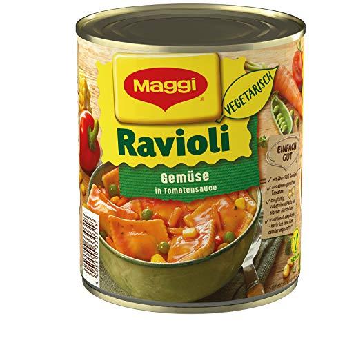 Maggi Gemüse-Ravioli in Tomatensauce, Teigtaschen in fruchtiger Sauce, vegetarisches Fertiggericht, leckeres Camping-Essen, 1er Pack (1 x 800g)