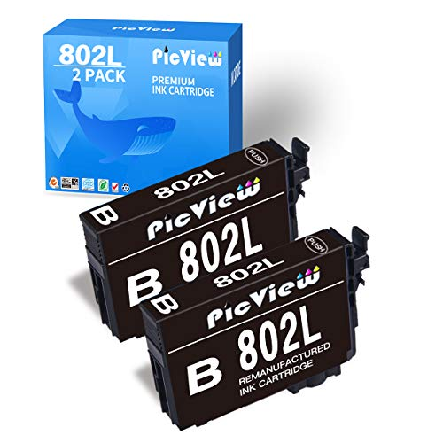 PicView Remanufactured Ink Cartridge Replacement for 802XL 802 T802XL T802 Black for Workforce Pro WF-4740 WF-4730 WF-4720 WF-4734 EC-4040 4030 4020 Printer, 2 Packs -  PicView Compatible for Epson 802 802xl ink, 802XL T802XL