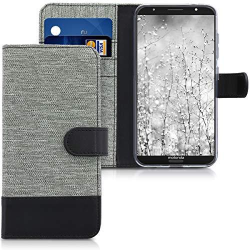 kwmobile Motorola Moto G6 Plus Hülle - Kunstleder Wallet Case für Motorola Moto G6 Plus mit Kartenfächern & Stand - Grau Schwarz