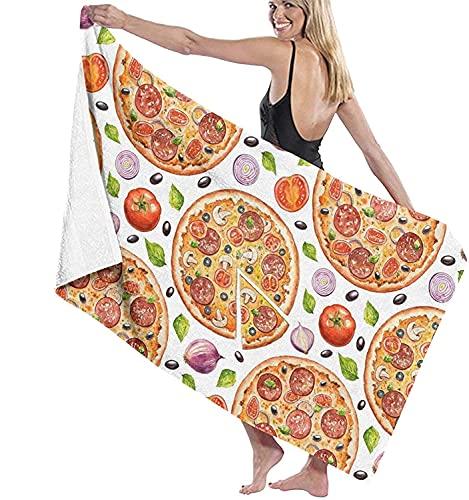 YOMOCO Fast Food Pizza Hai Toalla de baño 3D Cocodrilo dibujos animados redonda pizza 100% microfibra en tamaño completo regalo infantil suave y esponjoso (pizza 4,150 cm x 200 cm)