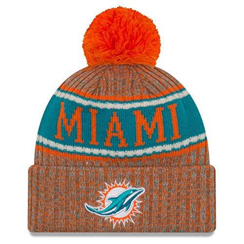 New Era Orange Miami Dolphins NFL Sideline Cold Weather Reverse Sport Knit Hat