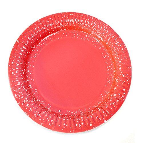 Visiodirect Lot de 144 Assiettes en Carton Coloris Rouge Diam 18 cm - 300gr