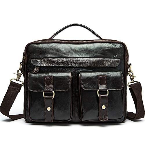 WFBD-CN Wallet Men Genuine Leather Men's Bags Retro Men's One-shoulder Bags With Head Covering Cowhide Leather Briefcase For Men wallet Money Clip (Color : Black, Size : S)