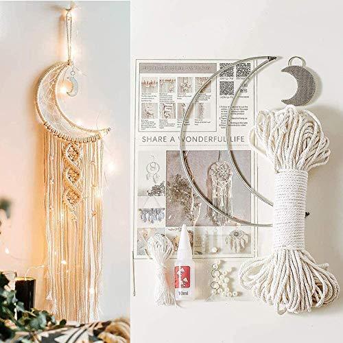 ikasus Set di fili in macramè, per acchiappasogni, principianti, filo di cotone macramè, fai da te, accessori per il fai da te, per appendere alla parete, decorazione fai da te