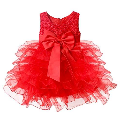 YiZYiF Vestito da Bambina Cerimonia Elegante con Strass e Paillettes Glitter Abito da Sposa Multistrati Vestito Principessa Bimba per Compleanno Floreale Matrimonio Rosso 6-9 Mesi