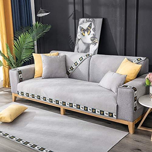 YUTJK Lattice Side Sofa Decke, rutschfest Quilten Gewaschen Multi-Größen Abschnittsweise Sofabezug, Vier Jahreszeiten universell Möbelschutz, Für Ledersofas, Grau