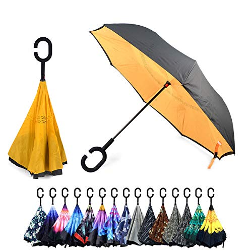 Double Layer Inverted Umbrellas C-Shaped Handle Reverse Folding Windproof Umbrella for Women Men (Mustard)