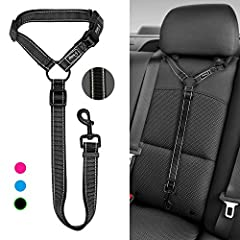HIGH QUALITY & SAFETY: Made of high quality nylon webbing to ensure your pets safety for car travelling. ADJUSTABLE LENGTH: Our dog walking leash is adjustable between 17-31 inches,perfect for daily walking. CONVENIENT: Designed with quick release bu...