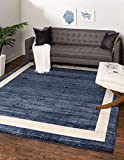 Unique Loom Del Mar Collection Contemporary Transitional Square Rug, 8', Navy Blue/Ivory