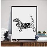 Decoración moderna del arte de la pared del perro del perro perdiguero de oro del perro perdiguero para impresiones de la habitación Cartel jadeo de la lona 50x70cm Perro enmarcado