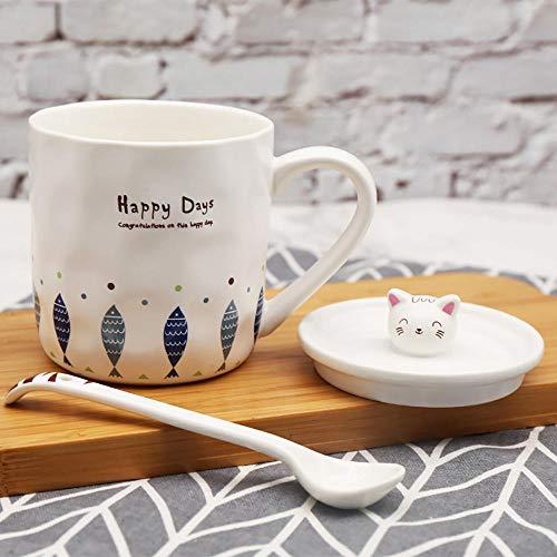 Taza de café para gatos, 330 ml, con forma de gatito 3D, tapa de cerámica de hueso, taza de té de leche única, regalo divertido con estilo cuchara D_330 ml