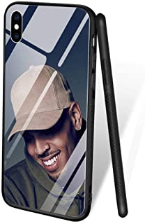 for iPhone XR, Tempered Glass Back Cover Soft Silicone Bumper Phone Case ZL-55 Chris Brown