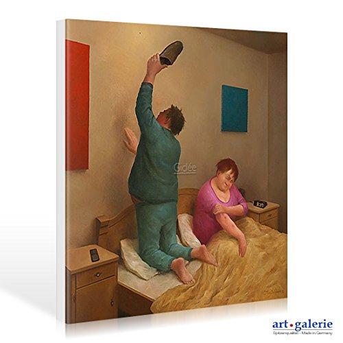 Art-Galerie Leinwandbild Marius Van Dokkum - Mosquito - 50 x 50cm - Premiumqualität -, Karikatur, altes Ehepaar, Mücke, Mückenstiche, Mückenjagd, Schlaf, Nachtruhe, lustig. - Made IN Germany SHOPde