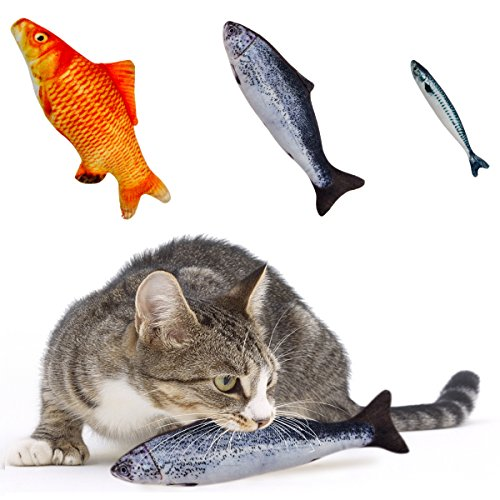 MEWTOGO Pack of 3 Catnip Fish Cat Toys - Refillable and Realistic Fluffy Fish...