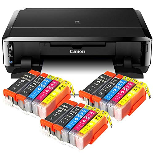 Canon Pixma iP7250 Tintenstrahldrucker mit WLAN, Fotodrucker und CD-Bedruck, Auto Duplex Druck + USB Kabel + 15er Set IC-Office XL Tintenpatronen (Originalpatronen Nicht im Lieferumfang)