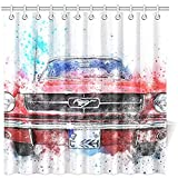 Novelcustom Duschvorhänge,Auto Altes Auto Mustang Kunst Abstrakte Aquarell Polyester Stoff Duschvorhang Badezimmer Sets Home Decor 183X183Cm