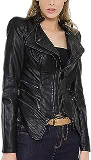 DISSA P607 Women Faux Leather Biker Jacket Slim Coat Leather Jacket