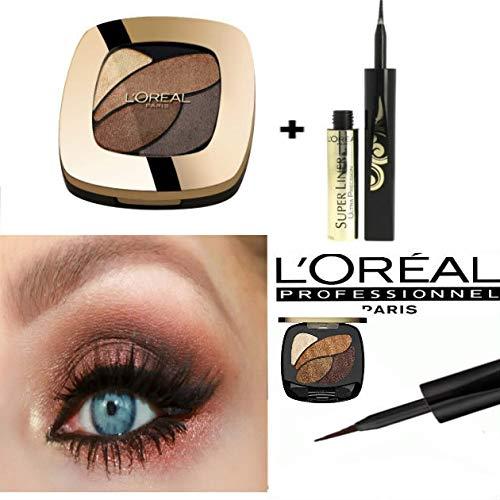 L'OREAL PARIS Color Riche Fard à Paupières/Ombrés - E3 Infiniment Bronze + L'Oreal - Superliner Black Gold Precision - Pour les yeux (Kit de 2 Produits)