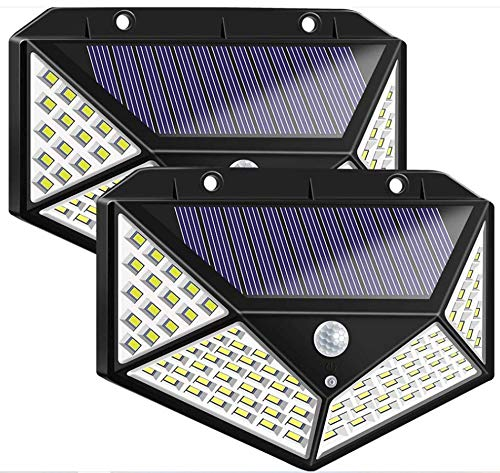 Solar Motion Sensor Light Outdoor 2Pack 100 LED Security Lights Waterproof Bright Wireless Detector Wall Lamp Dusk to Dawn Night Detection Flood Lighting for Outside Driveway Door Garage Path