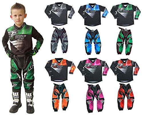 Motorbike Wulf Forte MX Kids Race Suit New 2020 Motocross Quad Off Road Trials Enduro Kart ATV MTB Dirt Bike Pit Sport Junior Pant Shirt Kit (Green,11-13 Years with Waist 28)