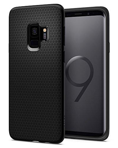 Spigen Funda de teléfonoLiquid Air, negro mate, protección flexible, ligera pero resistente, con motivos geométricos, para Samsung Galaxy S9, código 592CS22833