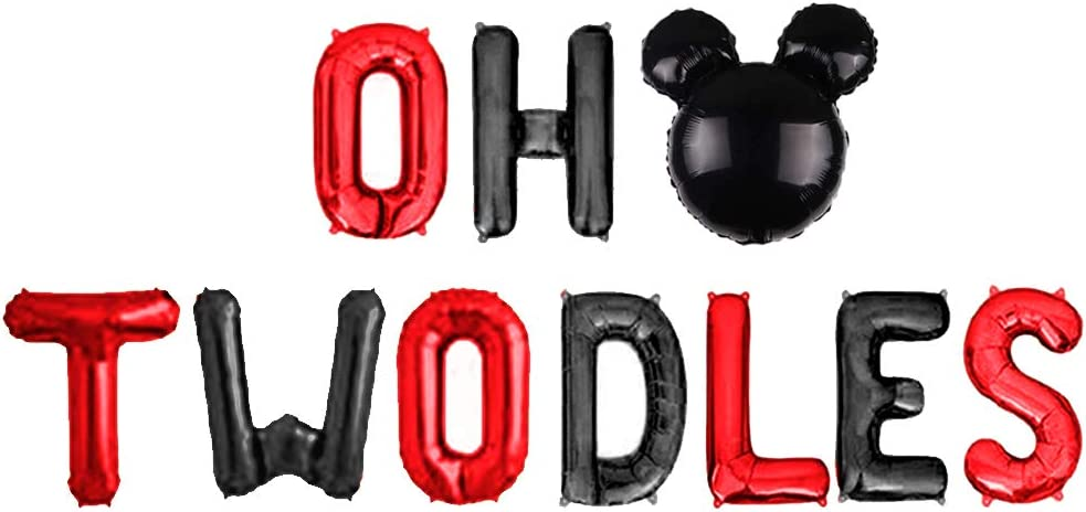 Oh Twodles Balloons Banner for Themed of Minnie Micky Mouse for Girl Boy Oh Twodles Birthday Party Supplies Decorations Set Of 12PCS Kit Pink Geloar Oh Twodles 2nd Birthday Party Decorations