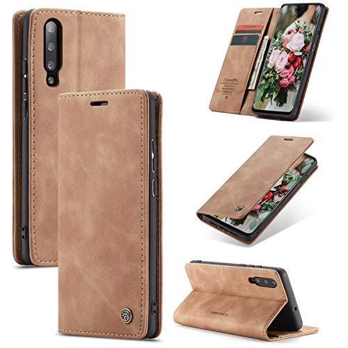 FMPC Handyhülle für Xiaomi Mi 9 Premium Lederhülle PU Flip Magnet Hülle Wallet Klapphülle Silikon Bumper Schutzhülle für Xiaomi Mi 9 Handytasche - Braun