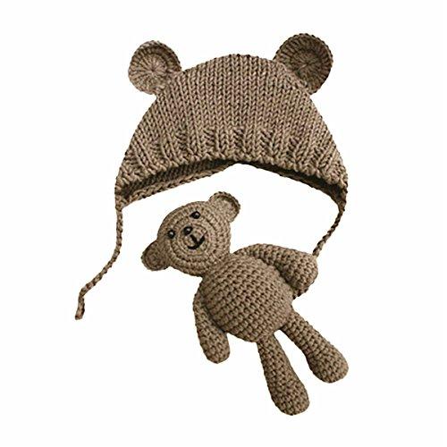 sunnymi Neugeborene Fotoshooting Kostüm Baby Häkel Hut Mütze mit Bär (Khaki, 0-6 Monate)