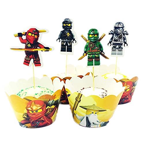 Ninjago Cupcake Wrappers Papier 72 Stücke Muffins Dessert Dekoration Verpackung Topper für Kinder,Ninja Themen Partydekoration liefert