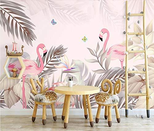 3D behang foto handgeschilderde tropische palmboom flamingo interieur achtergrond muurschildering 3d behang-250 * 175cm