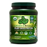 USDA Organic Vegan Protein Powder - Great Tasting Vanilla Flavor W/ 24g of Protein -100% Organic Plant Based Protein Blend of Pea, Hemp, & Rice Protein +Chia Seed, Flax Seed -760g - ORGANIC MUSCLE