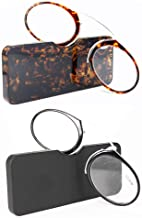 REAVEE 2 Pack of Ultra Thin Reading Glasses Nose Resting Pinching Readers with Case Go Everywhere Glasses