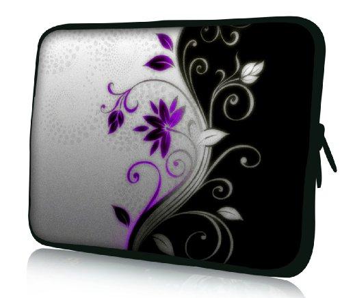 Luxburg® Design Laptoptasche Notebooktasche Sleeve für 17,3 Zoll, Motiv: Blumenornament lila/weiß