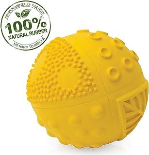 "Pure Natural Rubber Sensory Ball (3"") SUNSHINE - SEALED HOLE, All Natural Sensory Toy, Promotes Sensory Development, Bright Colors, Perfect Bouncer, BPA Free, PVC Free, Hole Free Sensory Ball for Baby"